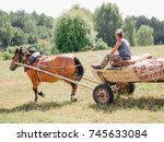 A Man On Old Wooden Cart Pulle...