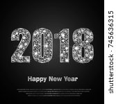 happy new year 2018. background ... | Shutterstock .eps vector #745636315