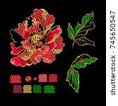 japanese peony flowers... | Shutterstock .eps vector #745650547