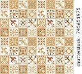 seamless vector tile pattern... | Shutterstock .eps vector #745651975