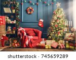 merry christmas and happy... | Shutterstock . vector #745659289