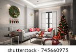 christmas living room with a...   Shutterstock . vector #745660975