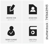 set of 4 editable global icons. ...