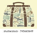 tourism icons in the form of a... | Shutterstock .eps vector #745665649