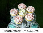 white cupcake   pink cupcake... | Shutterstock . vector #745668295