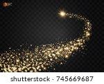 cosmic glittering wave. gold... | Shutterstock .eps vector #745669687