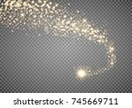 cosmic glittering wave. gold... | Shutterstock .eps vector #745669711