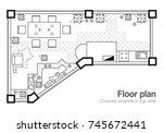 floor plan  top view. the... | Shutterstock .eps vector #745672441