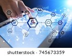 iot  automation  industry 4.0.... | Shutterstock . vector #745673359