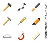 set of 9 editable tools flat...