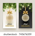 two christmas greeting cards  ... | Shutterstock .eps vector #745676359
