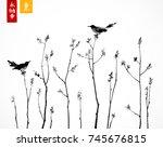 two black birds on trees... | Shutterstock .eps vector #745676815