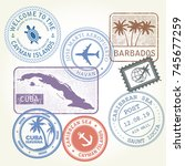 travel stamps set caribbean sea ... | Shutterstock .eps vector #745677259