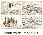 engraved hand drawn in old... | Shutterstock .eps vector #745678615