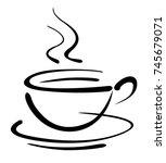 coffee cup art draw  vector... | Shutterstock .eps vector #745679071