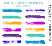 watercolor  ink or paint brush... | Shutterstock .eps vector #745679731