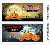 happy halloween banner... | Shutterstock .eps vector #745679851