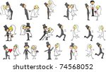 set of wedding pictures  bride... | Shutterstock .eps vector #74568052