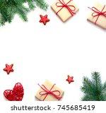 christmas composition.... | Shutterstock . vector #745685419