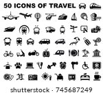 icons of transporation  travel  ... | Shutterstock .eps vector #745687249