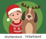 christmas portrait of a girl... | Shutterstock .eps vector #745693645