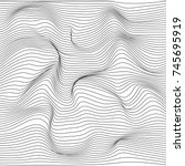 Distorted wave monochrome texture. Abstract dynamical rippled surface. Vector stripe  deformation background. | Shutterstock vector #745695919