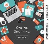 online shopping concept. online ... | Shutterstock .eps vector #745696315
