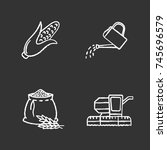 agriculture chalk icons set.... | Shutterstock .eps vector #745696579