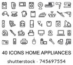 set of home appliances icons | Shutterstock .eps vector #745697554
