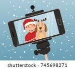smartphone christmas portrait... | Shutterstock .eps vector #745698271
