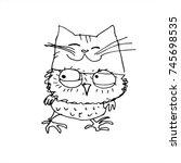 sketching owl. hand drawn... | Shutterstock .eps vector #745698535