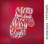 merry christmas typography ... | Shutterstock .eps vector #745701691