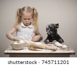 funny dog and child   cooks.... | Shutterstock . vector #745711201