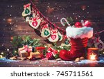 christmas background. advent... | Shutterstock . vector #745711561