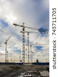construction cranes on the site ... | Shutterstock . vector #745711705
