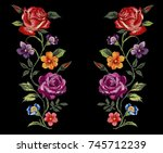 colorful flower embroidery... | Shutterstock .eps vector #745712239