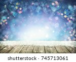 winter background with frost... | Shutterstock . vector #745713061