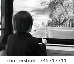 black and white view. a boy... | Shutterstock . vector #745717711