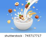 instant oatmeal with hazelnuts. ... | Shutterstock .eps vector #745717717
