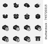 set of box delivery  icons. | Shutterstock . vector #745720315