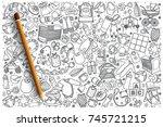 hand drawn baby shop vector... | Shutterstock .eps vector #745721215