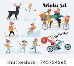 cartoon illustration set of... | Shutterstock .eps vector #745724365