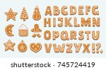 vector cartoon set of alphabet... | Shutterstock .eps vector #745724419