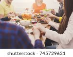 friends meeting. group of happy ... | Shutterstock . vector #745729621