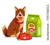 domestic dog sitting next to... | Shutterstock .eps vector #745736011
