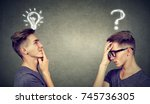 two men thinking one has a... | Shutterstock . vector #745736305
