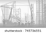 group of construction workers... | Shutterstock .eps vector #745736551