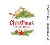 christmas decorations... | Shutterstock .eps vector #745736929