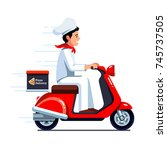 delivery man in chef cook... | Shutterstock .eps vector #745737505
