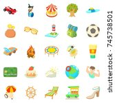 carefree vacation icons set.... | Shutterstock . vector #745738501